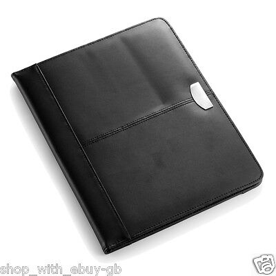Real 100% Bonded Leather A4 Conference Folder HQ Unzipped Free Lined Notepad UK