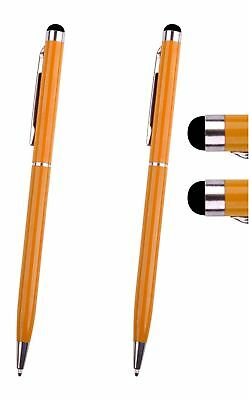 Hellfire Trading 2 Orange Stylus with Ball Point Pen for Tablets iPad Smartphone