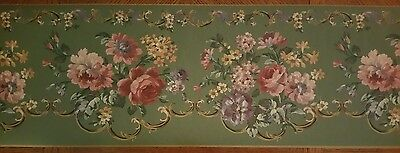 Brewster Wallcovering Green Background With Flowers Wallpaper Border