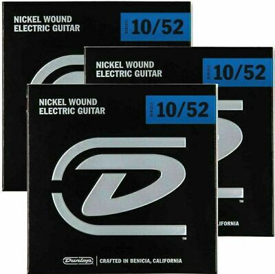3 x Dunlop String Set Nickel Wound Lt / Heavy Electric Guitar Strings 10 - 52
