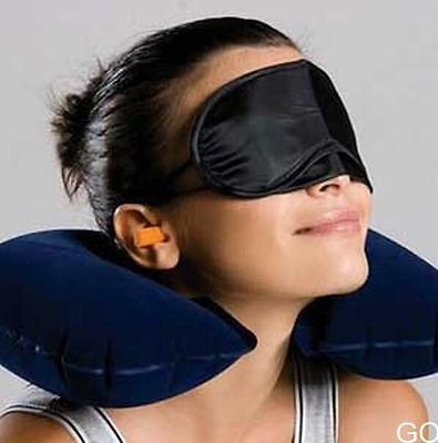 GO US Inflatable Travel Flight Pillows Neck U Rest Air Cushion+ Eye Mask+Earbuds