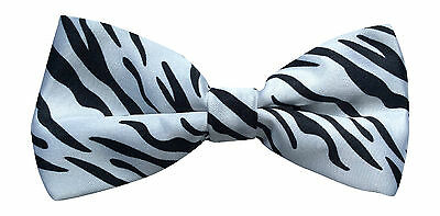Men's ZEBRA Black & White Animal print Bow Tie Dickie Bow fancy dress