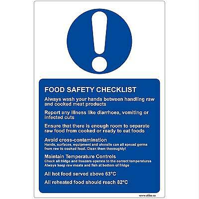 Food Safety Checklist vinyl Sticker Sign for Kitchens (13x20cm) Kitchen Hygiene