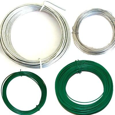 Garden Wire Heavy Duty Fencing Wire Green PVC/ Galvanised  Size Choice 1/2/3/mm