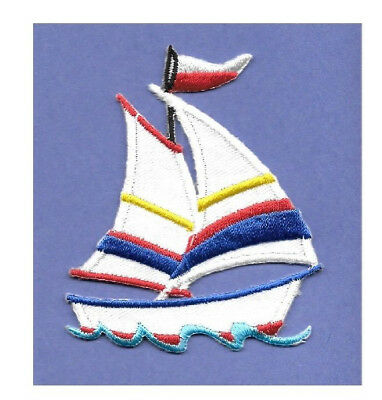 blue 4,9x4,1cm Iron on patches sailing ship ship boat Application Embroi