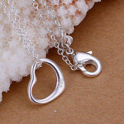 New 925 Sterling Silver Filled Cute Heart Pendant Charm Necklace Chain