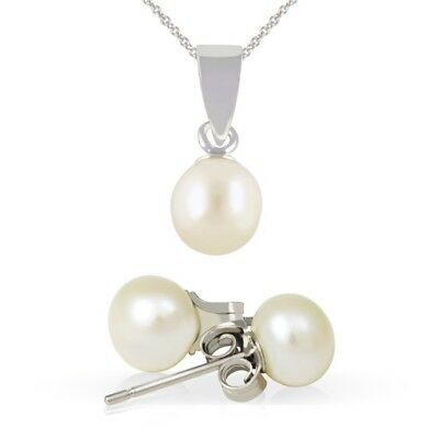 "925 Silver Cultured Freshwater Pearl Necklace & Earring Set + 18"" Silver Chain"