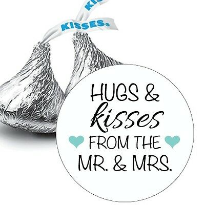 108 Hugs & Kisses from the Mr. & Mrs. with hearts Hershey Kiss Stickers Favors