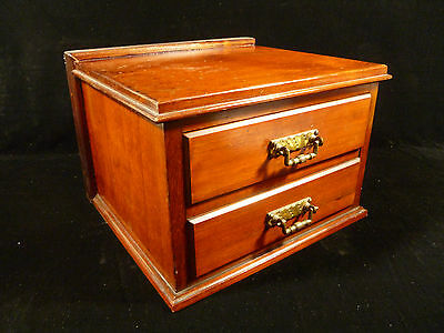 Beautiful Walnut Or Mahogany Two Drawer Box  With  Brass Handles – Circa 1900