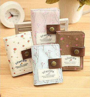 Cute Pastoral Style Canvas Business ID Credit Card Pocket Bag Wallet Holder Case