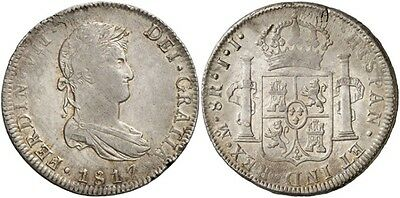 1817 Spanish Silver Coin Fernando VII Monarchi 8 Reales SS 2072-1010