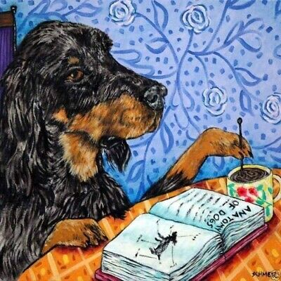 4x4  GORDon SETTER coffee glass art tile coaster gift JSCHMETZ modern folk