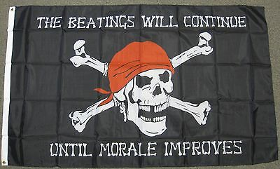PIRATE FLAG 3x5 BEATINGS WILL CONTINUE JOLLY ROGER F909