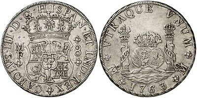 1763 Spanish Silver Coin Carlos III Monarchi 8 Reales SS 2421-1210