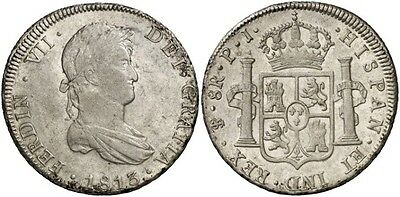 1813 Spanish Silver Coin Fernando VII Monarchi 8 Reales SS 1175-0111