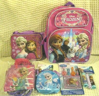 """Frozen Anna & Elsa 16"""" Backpack,Lunch Bag,Party Bags,Jump Rope,Puzzle,Lip Gloss"""