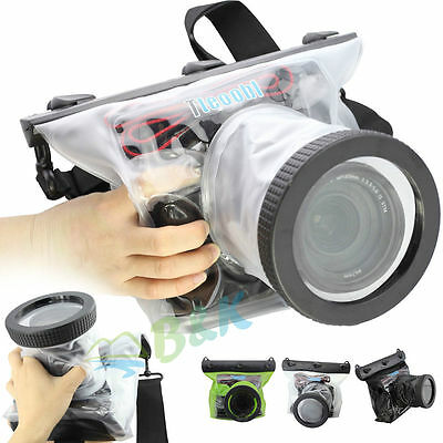 20M DSLR SLR Canon Nikon Camera Waterproof Underwater Housing Case Bag Lens 14CM