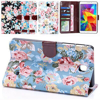 """Flower Folio Stand Prime Leather Case Cover Pouch For Samsung Galaxy Tab 7"""" T230"""