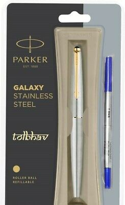 Parker Galaxy Steel GT Roller Ball Pen RB Gold Trim Standard Rollerball Blue Ink
