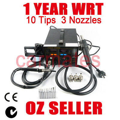 YH968DB+ 2 in1 SMD Rework Soldering Station Hot Air Gun Fume Extractor 1YEAR WRT