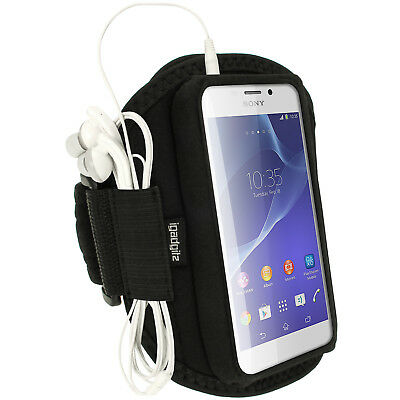 Black Running Jogging Sports Armband for Sony Xperia M2 D2303 Case Cover Fitness