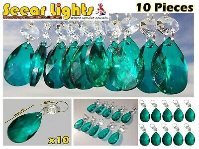 Peacock Green Chandelier Oval Cut Glass Crystals 10 Drops Prisms Droplets Beads