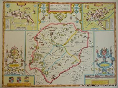 Old Copy Of John Speed Map Of Rutlandshire Stanford Oukham Town Plan