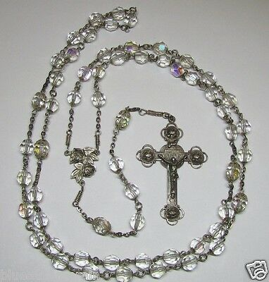 "† Scarce Enormous Stunning Vintage Rose Sterling Ab Capped Rosary 42"" Necklace †"