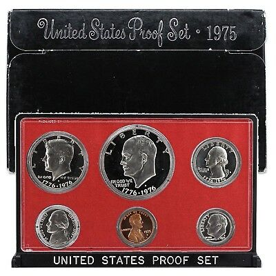 1975 S Proof Set Original Box 6 Coins Type 1 Eisenhower Ike Dollar US Mint