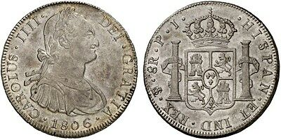1806 Spanish Silver Coin  Carlos IV Monarchi 8 Reales SS 464/1111