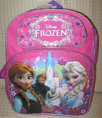 """Disney Frozen Elsa Anna Kristoff Olfa 16"""" Backpack Front&Side Compartments-New!"""