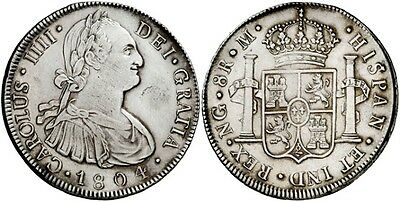1804 Spanish Silver Coin Carlos IV Monarchi 8 Reales SS 382-0711