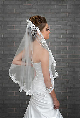 1 Tier Ivory Wedding Lace Edge Bridal Elbow Veil With Comb 32""