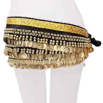 High Quality 250 Gold Coins Belly Dance Hip Skirt Velvet Scarf Belt Black