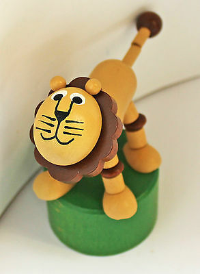 Lion - classic wooden Detoa push-up toy figure - new, European certified