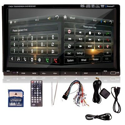 "Double 2 DIN 7"" Car DVD Player Bluetooth GPS Navigation In-Dash Radio Stereo+Map"