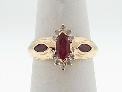 Estate Natural Ruby Diamonds Solid 14k Yellow Gold Ring FREE Sizing