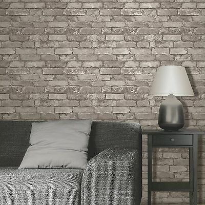 RUSTIC BRICK EFFECT WALLPAPER 10m SILVER GREY NEW FINE DECOR