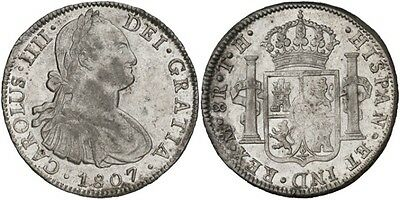 1807 Spanish Silver Coin Carlos IV Monarchi 8 Reales SS 856-0911