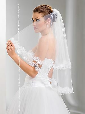 """2T White / Ivory Wedding Prom Bridal Elbow Veil With Comb 30""""- Lace Edge"""
