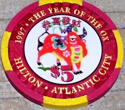 $5 Ltd Edt Year Of The Ox 1997 Gaming Chip From The Hilton Casino Atlantic City