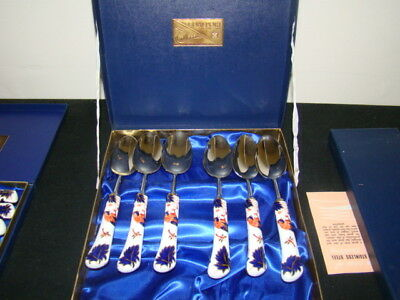 Coalport Hong Kong Set Of 6 Oval Spoons In Original Box