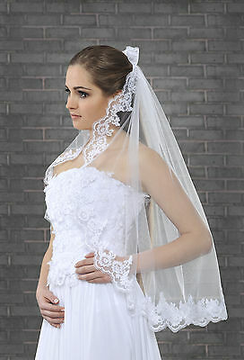 """New 1 Tier White / Ivory Wedding Lace Edge Bridal Elbow Veil With Comb 32"""""""