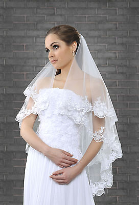Two Tier Fingertip Wedding Bridal Veil Lace Edge with Silver Thread VK-28