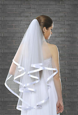 2 Layer Wedding Fingertip Veil on Comb With Large Welt VL-49