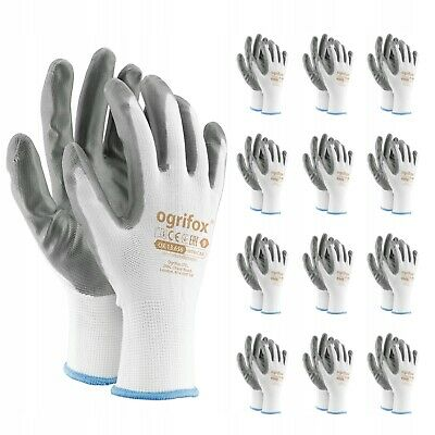 12 or 24 PAIRS OF NEW NITRILE COATED WORK  White/Grey GLOVES SIZES 7 - 10