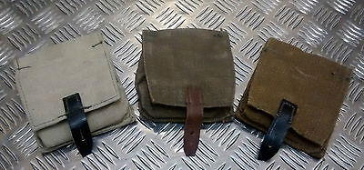 Genuine Russian Army Vintage Canvas Grenade Pouch With Belt Loops Bg/Blk - NEW