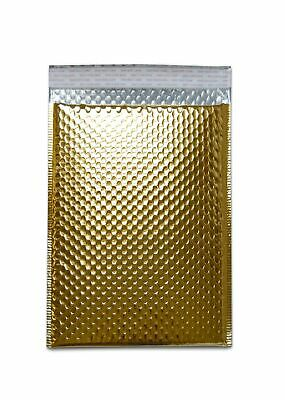 """Metallic Bubble Mailers Shipping Envelope Bags 13"""" x 17.5"""" Gold 100 Per Case"""