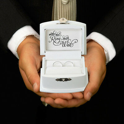 """Ring Bearer Box Alternative Wedding Pillow Scrolled """"With This Ring I Thee Wed"""""""
