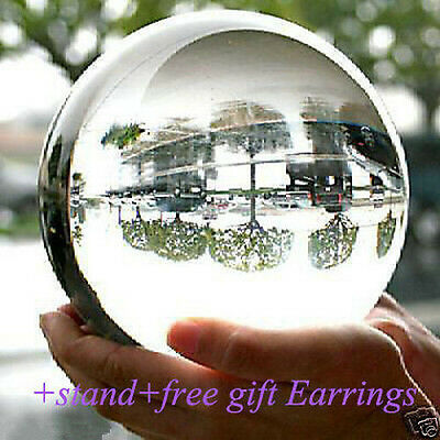 HOT* NEW ASIAN QUARTZ CLEAR CRYSTAL BALL SPHERE 80MM + STAND+FREE GIFT